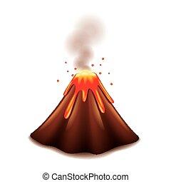 Volcán aislado en vector blanco