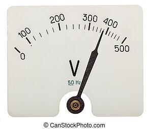 voltímetro, indicar, aislado, flecha, fondo blanco, 380, voltios