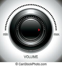 volumen, grande, negro, knob.