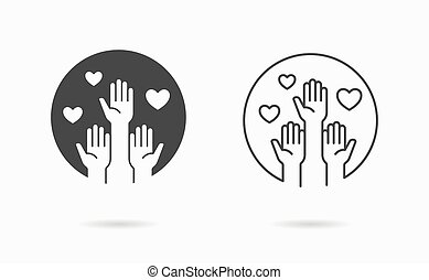 voluntario, donation., negro, ayuda, illustration., vector, icon., solidaridad, símbolo