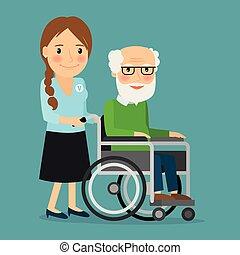 Voluntario empujando silla de ruedas con un viejo discapacitado