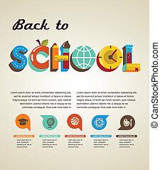 Volver a la escuela - texto con iconos. El concepto del vector