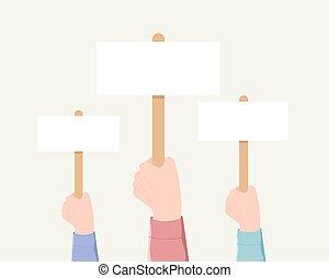 votación, demostración, minting, concept.