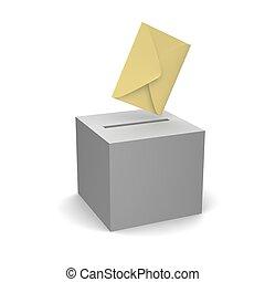 Voten o envíen una carta. 3d ilustrado.