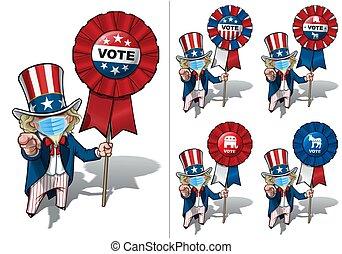 voto, -, quirúrgico, sam, necesidad, usted, máscara, tío