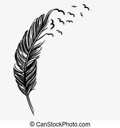 vuelo, aves, púa, ot