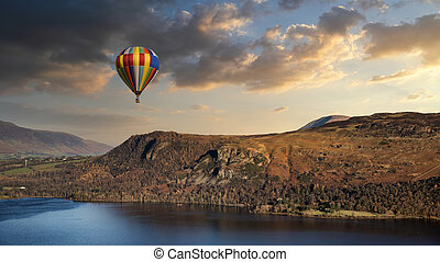 vuelo, caliente, derwentwater, lago, globo, distrito, paisaje, encima, durante, verano, maravilloso, dunset, aire