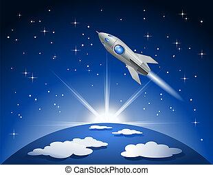 vuelo, cohete, espacio