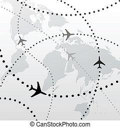 vuelo, planes, viaje, conexiones, mundo, avión