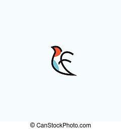 vuelo, plantilla, diseño abstracto, carta, logotipo, f, pájaro