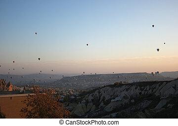 vuelo, rocoso, aire caliente, encima, globos, paisaje.