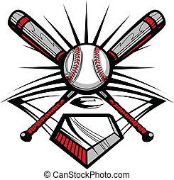 w, cruzado, murciélagos, sofbol, beisball, o
