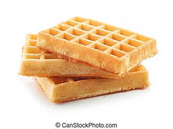 Waffles en un fondo blanco