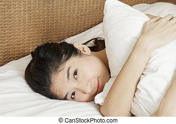 wakeup, mujer, primer plano, asiático, mañana