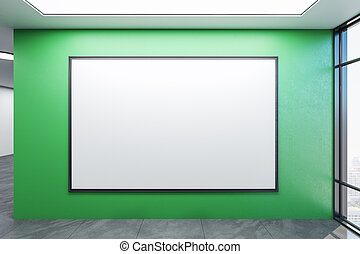 wall., habitación, espacioso, cartel, blanco