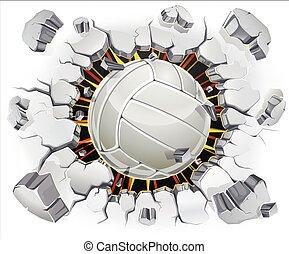 wall., viejo, voleibol, yeso