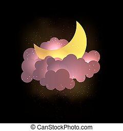 wallpaper., nubes, luna, dulce, stars., sueños