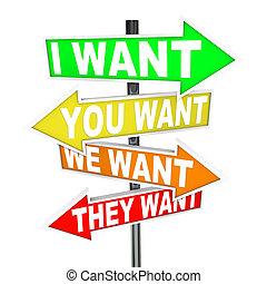 wants, egoísta, necesidades, deseos, -, contra, señales, mi, yours