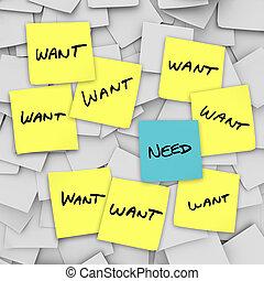 wants, necesidades, notas, -, pegajoso, contra