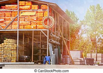 warehouse., materiales, edificio
