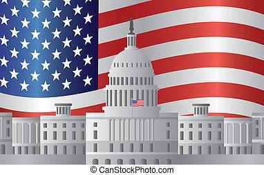 Washington DC capitol de fondo de la bandera de EEUU