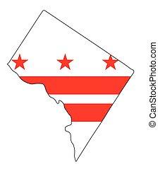 Washington DC esboza el mapa y la bandera