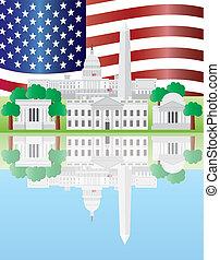 Washington D.C. se refleja en la bandera de EEUU