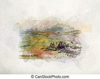 watercolors., salida del sol, paisaje, toscana