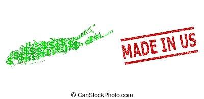watermark, clientes, isla, mosaico, verde, textured, dólar de los e.e.u.u, hecho, largo, mapa