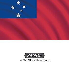 Waving Samoa bandera en un fondo blanco. Ilustración de vectores