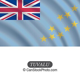 Waving Tuvalu bandera en un fondo blanco. Ilustración de vectores