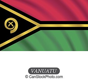 Waving Vanuatu bandera en un fondo blanco. Ilustración de vectores