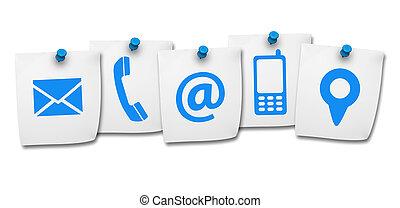 Web contacta con nosotros iconos en el correo