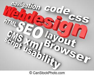 webdesign, relevante, rodeado, palabras, rojo