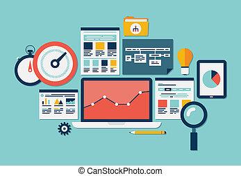Website SEO y iconos analíticos