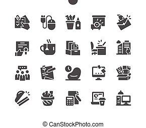 well-crafted, oficina, perfecto, apps., iconos, tela, simple, sólido, gráficos, mínimo, 2x, cuadrícula, pixel, vector, 30, pictogram