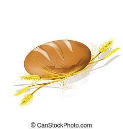 wheat., bread, illustration., vector