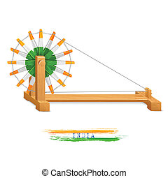 wheel), charkha, (spinning, tricolor