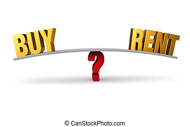 whether, decidir, comprar, alquiler, o