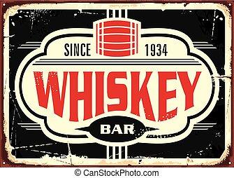 whisky, estaño, barra, vendimia, señal