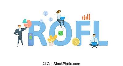 white., illustration., icons., rofl, keywords, vector, plano, concepto, gente, regreso, aislado, leverage., financiero