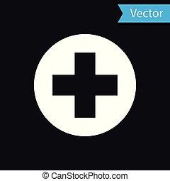 White Medical Cross en el icono del círculo aislado en el fondo negro. El símbolo médico de primeros auxilios. Ilustración de vectores