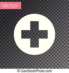 White Medical Cross en el icono del círculo aislado en el fondo transparente. El símbolo médico de primeros auxilios. Ilustración de vectores