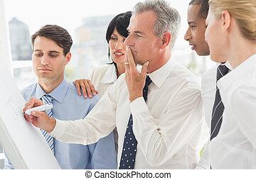 whiteboard, colegas, escritura, mirar, hombre de negocios, pensamiento