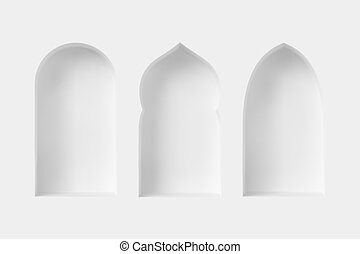 windows., árabe, 3d, estilo, conjunto
