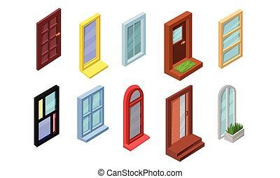 windows, colección, ilustración, elementos, vector, puertas, diseño, entrada, arquitectónico