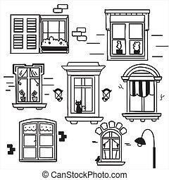 windows, dibujado, mano