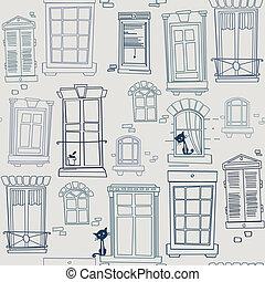 windows, seamless, patrón