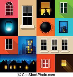 windows, vector, colección