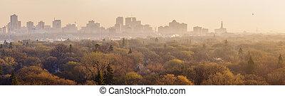 Winnipeg panorama al amanecer